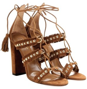 Aquazzura Suede New Cognac Sandals