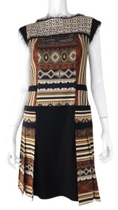 Etro Print Fringe Neutral Dress