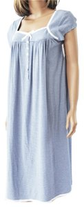 Eileen West EILEEN WEST Navy Blue White Stripe Cotton Grosgrain Ribbon Nightgown S