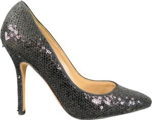 Manolo Blahnik Sequin Sparkle Basic Black Pumps