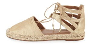 Aquazzura Suede New Ankle Tie Gold Flats