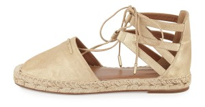 Aquazzura Suede New Ankle Tie Espadrille Gold Sandals