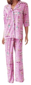 P.J. Salvage PJ SALVAGE Sock Monkey Lilac Pink Playful Prints Pajamas Set Size S