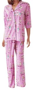 P.J. Salvage PJ SALVAGE Sock Monkey Lilac Pink Playful Prints Pajamas Set Size M