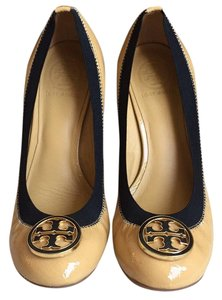 Tory Burch Mocha patent leather and black elastic Wedges