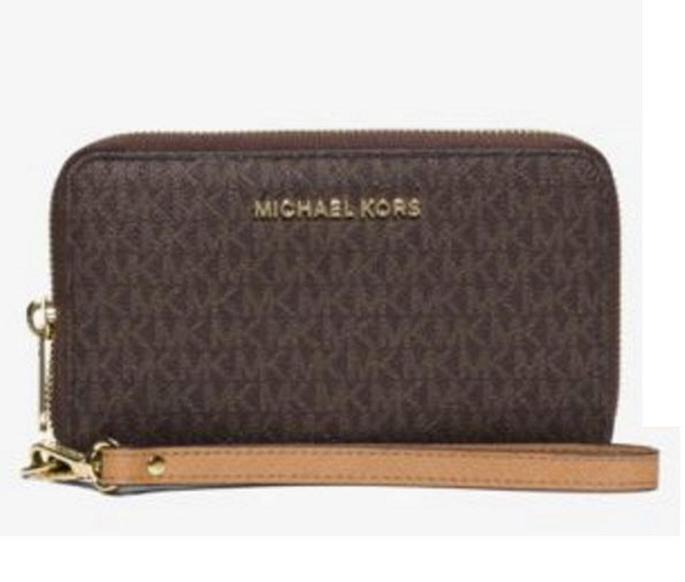 cbdb67dd3d8d Michael Kors Brown / Gold Tone Jet Set Travel Large Smartphone Wristlet  Wallet