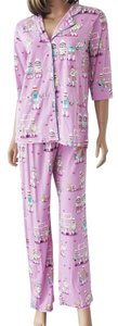 P.J. Salvage PJ SALVAGE Sock Monkey Lilac Pink Playful Prints Pajamas Set Size L