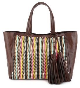 Essentiel Antwerp Braided Woven Leather Metallic Neon Tote in Multi