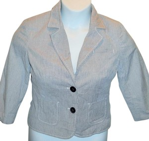 Old Navy Striped Collared Lined Blue Blazer