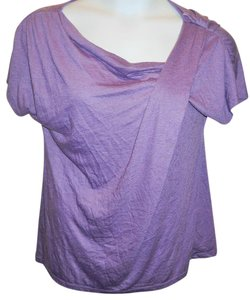 Daisy Fuentes Solid Print Short Sleeve Burnout Top Purple