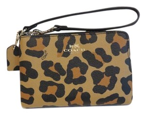 Coach Black Leopard Wristlet in Black, Brown
