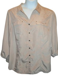 Roz & Ali Button Front Button Tabbed Collared Button Down Shirt