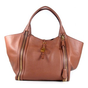 Tom Ford Amber Lock & Key Zipper Tote in Brown