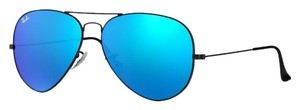 Ray-Ban Black Ray Ban Aviator with Blue Flash Lenses