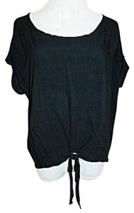 Final Touch Rayon Tie Waist Short Sleeve Top Black