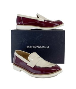 Emporio Armani Oxblood Ivory Patent Leather Loafers Boots