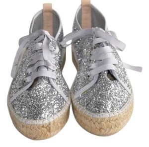 Charles David Glitter Lace Up Espadrille Canvas Silver Platforms