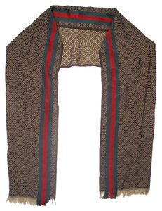 Gucci SCARF - VINTAGE BROWN TAN RED GREEN STRIPE FRINGE PATTERN PRINT GG