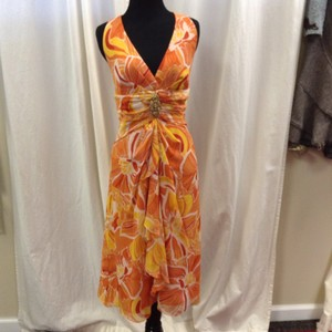 Kay Unger Silk Tea Length A-line Dress