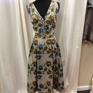 Kay Unger Silk Tea Length A-line Floral Dress