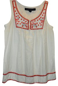 French Connection Sleeveless Beaded Top White