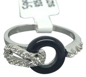 Other Rhodium Sterling Silver Onyx CZ Ring