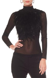 Gracia Feathered Sheer Mesh Top Black
