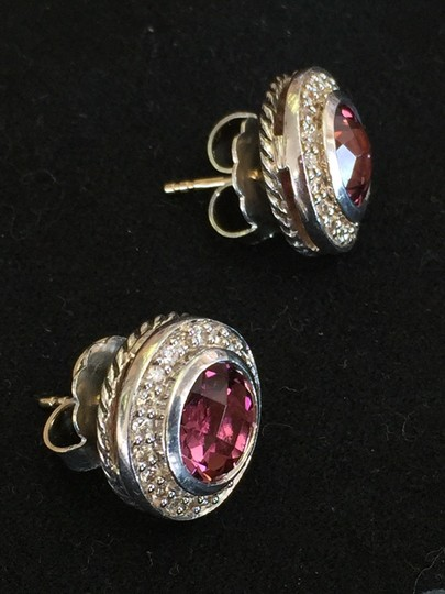 David Yurman David Yurman Faceted Pink Tourmaline in Sterling with Diamond Halo Post Earrings