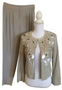 St. John ST. JOHN COUTURE Beaded Lamb Skin Suede Pants Suit Jacket