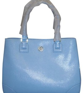Tory Burch Saffiano Leather Large Tote in Morning Sky Blue
