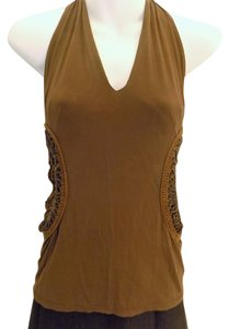 Roberto Cavalli Brown Halter Top