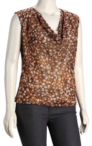 NIC+ZOE Chiffon Sheer Top Brown/Camel/Tan