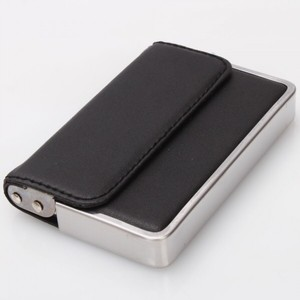 other black faux leather and metal business card holder - Metal Business Card Case