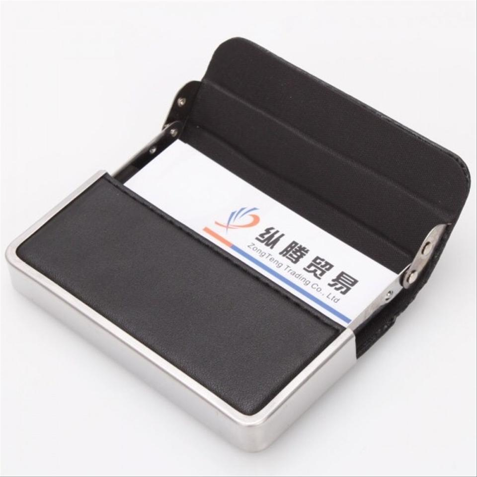 Black Faux Leather and Metal Business Card Holder Wallet - Tradesy