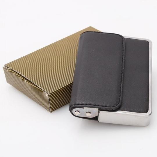 Black faux leather and metal business card holder wallet tradesy other black faux leather and metal business card holder colourmoves Images
