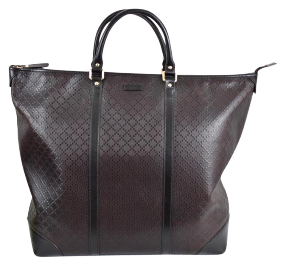 29261ddc33b9 Gucci Diamante Leather Large Zip Top Unisex 308896 Brown Black Tote Bag on  Sale, 49