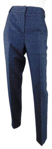 Fendi Wool Navy Straight Pants Blue