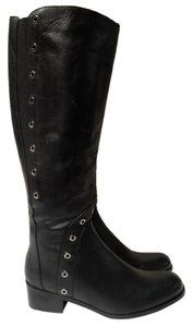 Sesto Meucci Made In Italy Knee High Zip Up Elastic Stretch Calf black Boots