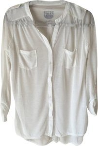 Primark Sheer Blouse Button Up White Button Down Shirt Cream