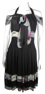 Chanel short dress Black Graffiti Blue Pink Silk Cc on Tradesy