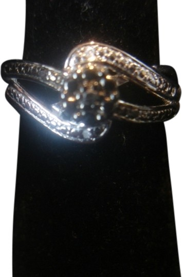 JC Penney STERLING SILVER 925 SOLITAIRE TWISTED BAND CLEAR/ BLACK DIAMOND RING SZ 7.25 NEW Image 0
