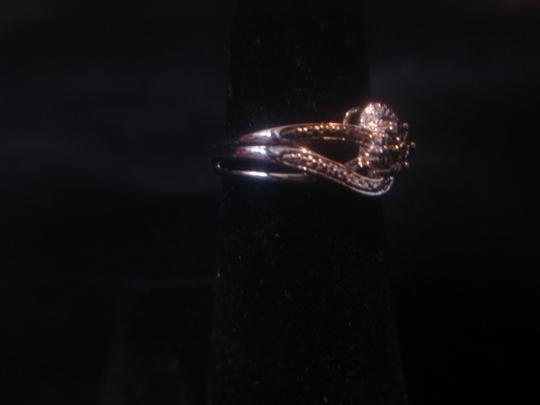 JC Penney STERLING SILVER 925 SOLITAIRE TWISTED BAND CLEAR/ BLACK DIAMOND RING SZ 7.25 NEW