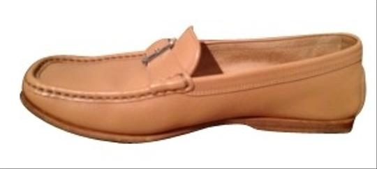 Tod's Leather Loafers With Stitching & Buckle Beige Flats