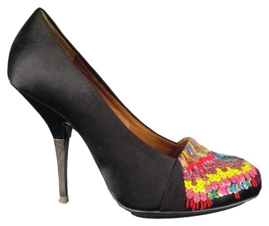 Dries van Noten Sequin Silver Multi Color Embellished Embroidered Black Pumps