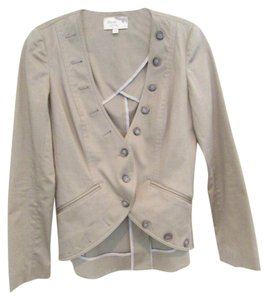 Elizabeth and James Lightweight Blazer Short Button Down Shirt Beige
