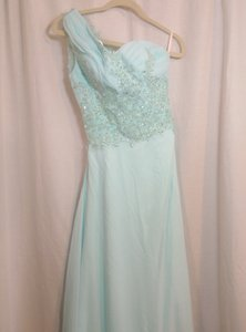 Aqua One Shoulder Sheer Back Lace Prom Dresses Size S Pre Owned Wedding Dress
