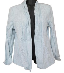 Chico's Pastel Blazer Open Front Crinkled Light Blue Jacket