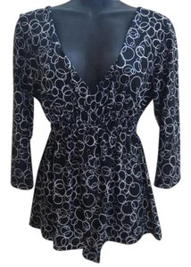 BCBGMAXAZRIA Knit Stretchy Formal Evening Top Black & White