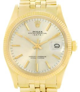 Rolex Rolex Date 14k Yellow Gold Silver Dial Vintage Mens Watch 1503