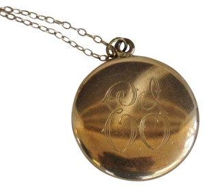 Other Antique Victorian Gold Filled Round Bridal ES Monogram Locket Necklace